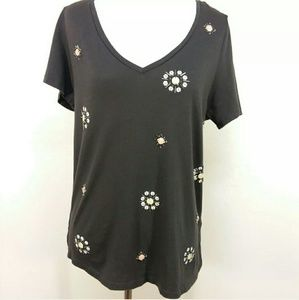 H&M Charcoal Embellished Top Sequins Faux Stones